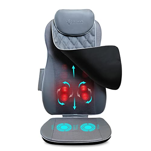 [Upgraded]Aront Back Massager with Heat - Massage Chair Pad Massage Seat Deep Kneading Full Back Massager Massage seat Cushion for Home Office Use Best Gifts