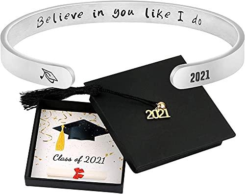Auagvien 2021 Pulseras Inspiradoras De Brazalete del Brazalete, Cita De Mantra Grabado Regalo De Graduación para Hija, Hermana, Mejor Amiga, Compañero De Clase (Style : #16)