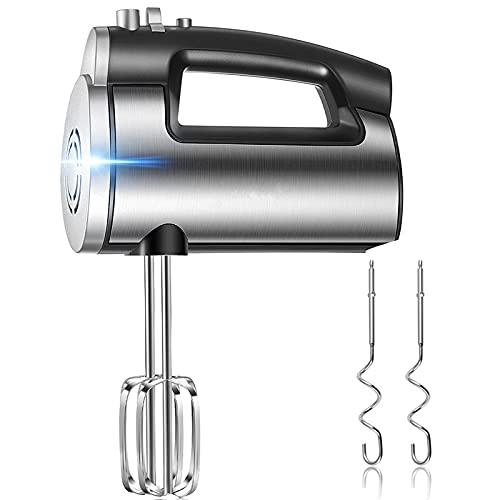 Sbattitore Elettrico, 6 Velocità Regolabili e un Pulsante Turbo con 2 Fruste & 2 Ganci in Acciaio Inox, Design di Espulsione a un Pulsante, Potenza di 300 W