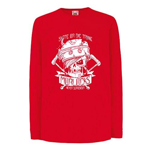 N4605D La Camiseta de los niños con Mangas largas Skate or Die Trying (12-13 Years Rojo Multicolor)
