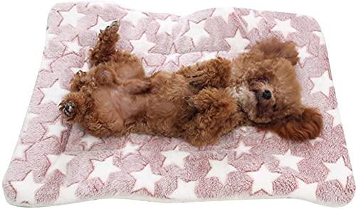 Manta de forro polar de franela para perro, exquisita alfombra cálida y suave, adecuada para gatos y perros pequeños y medianos (49 x 32 cm, estrellas rosadas)