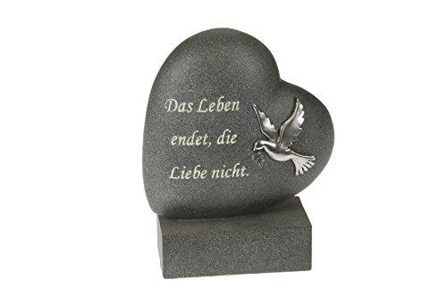 Paul Jansen Herz auf Sockel Taube Grabdekoration, Anthrazit, 6x14x18,5 cm