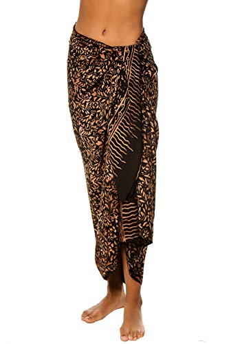 Treasures of Bali Women's Leaf Printed Cover Pareo Swim Cover Up Black One