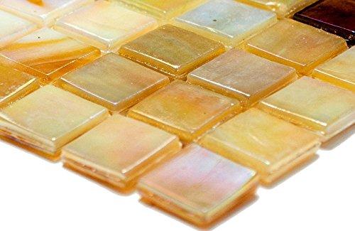 Mosaik Quadrat mix sandfarbend Glas irisierend Perlmut oriental Fliesenspiegel, Mosaikstein Format: 15x15x4 mm, Bogengröße: 60 x 100 mm, 1 Handmuster ca. 6x10 cm