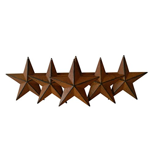 CVHOMEDECO. Country Rustic Antique Vintage Gifts Metal Barn Star Wall/Door Decor, 5-1/2 Inch, Set of 6. (Rusty)