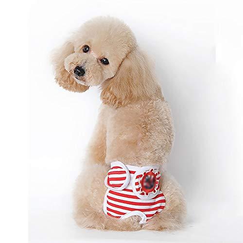 Pañales para Perros de Mujer, Pantalones fisiológicos Lavables Reutilizables para Perros, pantalón Menstrual cómodo y Transpirable (Color : Red, Size : Large)
