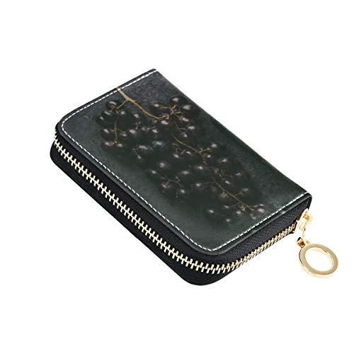 Karten Brieftasche Flasche Wein und Traube auf Tisch Münze Kreditkarte Brieftasche Pu Leder Zip-Around Kompakte Größe Brieftasche für Frauen Damen Mädchen Minimalist Akkordeon Brieftasche