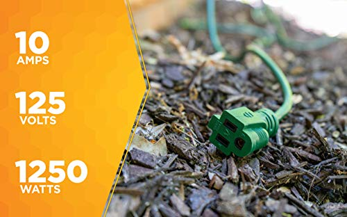 Coleman Cable 2353 16/3 Vinyl Landscape Outdoor Extension Cord, Green, 80 Foot