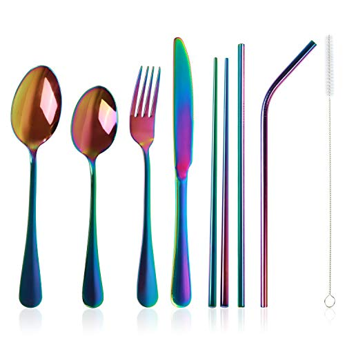 Stainless Steel Flatware Set Reusable Cutlery Set Travel Utensils Set with Straws for Camping Office or School Lunch,Dishwasher Safe (Rainbow-Set of 8)