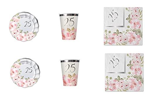 Party Store web 25 años de boda Floral a juego para decoración de fiesta temática 25º aniversario boda - Kit n° 5 Cdc (40 platos, 40 vasos, 40 servilletas)