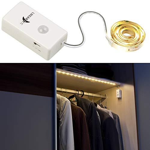 Lunartec Party Lichterkette: Indoor-LED-Streifen, 18 LEDs, PIR-Sensor, Batteriebetrieb, 160lm, 60cm (Schrankbeleuchtung Bewegungssensor)