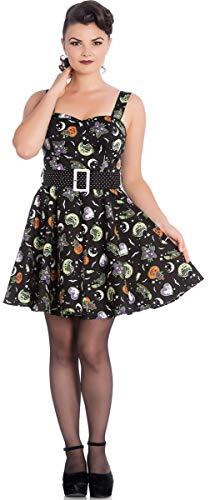 Hell Bunny Damen Kleid Salem Halloween 50s Mini Swing Dress Schwarz M
