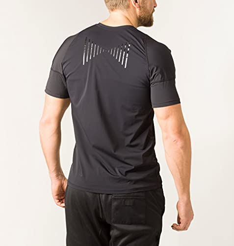 Swedish Posture® Reminder T-Shirt bessere Körperhaltung | weniger Rücken- & Schulterschmerzen | hochwertig & bequem | zur Physiotherapie, gegen Arthrose & Impingement (Schwarz Damen, L)
