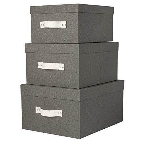 저장 상자를 뚜껑을 가진 세트의 3 개 크기 질감 회색 광택이 없는 종이와 면 손잡이를 조직 공예품 가정 장식 사무실 옷장