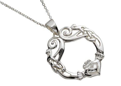Sterling Silber keltischer Claddagh Anhänger mit Kette