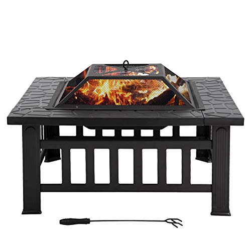 Outdoor Fire Pit,32 inch Square Metal Firepit for Patio Wood Burning Fireplace Garden Stove with Poker Mesh Cover ,Charcoal Rack for Camping Picnic Bonfire Backyard