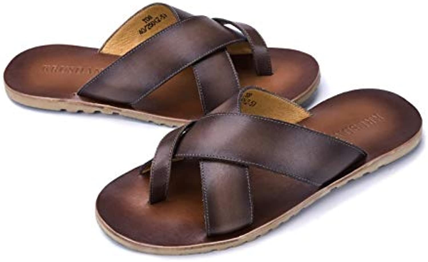 shoes Men Handmade Summer Men's Sandals Outdoor Non-Slip Leather Men's Beach shoes Slippers Leather Casual Sandals Handmade Leather shoes (color   Coffee, Size   7-US)