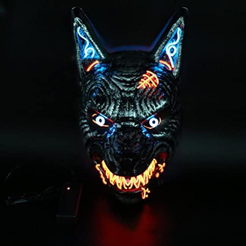 NEWMAN771Her Halloween Wolf Kopf Glow Maske, Halloween Cosplay PVC Wolf Kopf Gesichtsbedeckung Unisex Tier LED Leuchtende Wolf Kopfbedeckung Party Kostüm