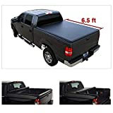 JUEDIMA Black Soft Vinyl Roll up Lock Tonneau Cover|Clamp On No Drill Top+Mounting Hardware fits 04-2014 F150 2006 07 08 Mark LT 6.5' Styleside Bed