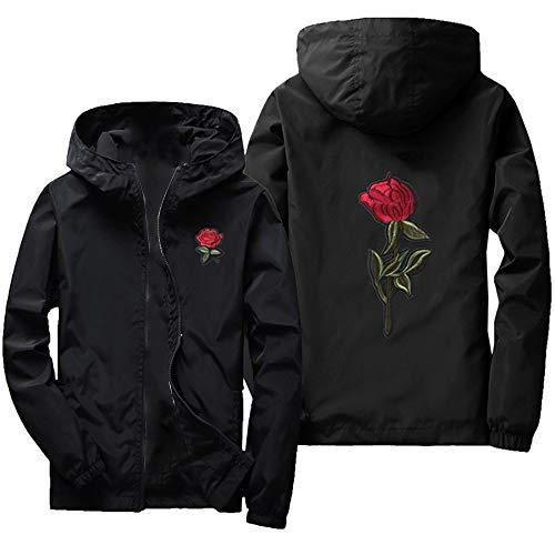 Freizeitjacke Herren Winddichter Hoodie,KaloryWee Männer Herbst Winter Coat Dünn Rose drucken Reißverschluss Kapuzenjacke Sportlicher