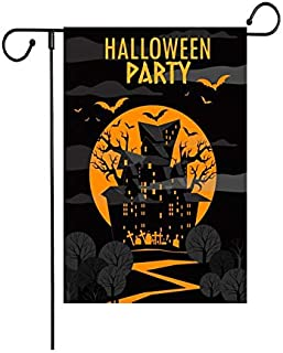 """Fiuqaomy Halloween Party Bat Castle Garden Flag Vertical Double Sized, Holiday Burlap Yard Outdoor Decoration 12.6"""" 18.5"""""""