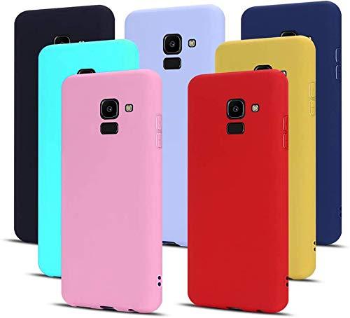 MoEvn 7X Cover per Samsung J6 2018 Custodia, Morbido in TPU Silicone Protezione Case per Samsung Galaxy J6 2018 Smartphone Opaco Gomma Gel Flessibile Sottile Antiurto Cellulare Bumper (7 Colori)