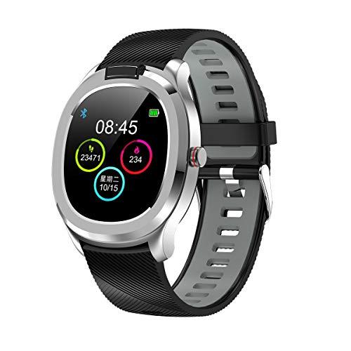 Vita Watch: Reloj smartwatch con termómetro, pulsómetro, medidor de oxígeno, ECG, sueño, podómetro, calorías, Deportes, notificaciones, Tiempo, Alarma y más Funciones (Gris y Negro)