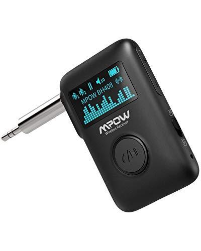 Mpow Bluetooth 5.0 Empfänger Aux Bluetooth Adapter, Kabelloser Bluetooth Audio Empfänger mit cVc8.0 Geräuschunterdrückung mit Freisprechanrufen und Sprachassistent 3,5mm Aux für Auto- und Heimstereosy
