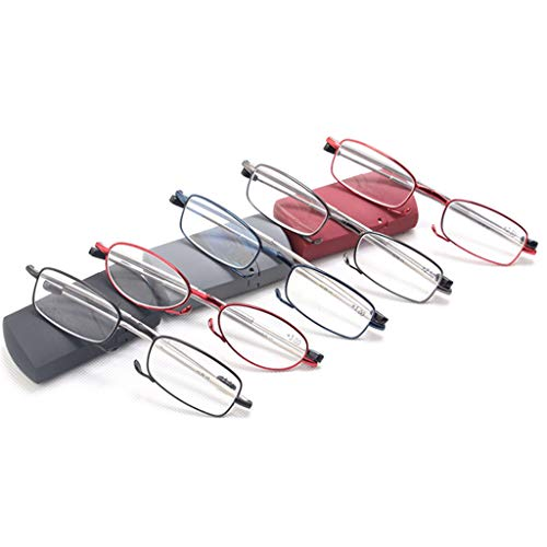 Opvouwbare leesbril, Draagbaar Metaallegering Vergrotende compacte leesbril voor ouders Reader Dames/Heren Mini Hard Case (5 stuks),+ 3.0