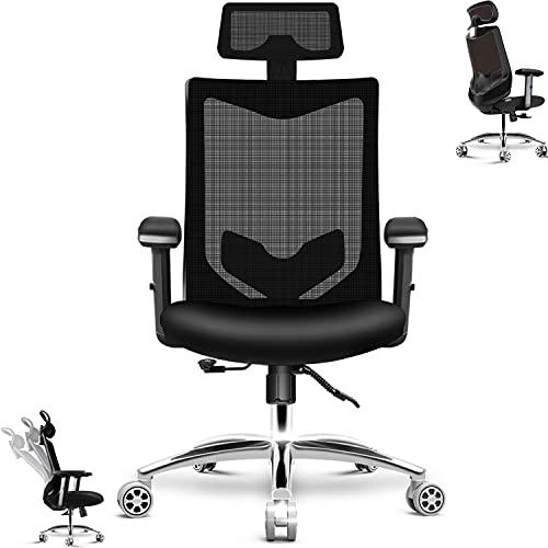 HomeGoGo Schreibtischstuhl, Bürostuhl Ergonomischer Stuhl für Zuhause, Verstellbarer Gaming Stuhl mit Kopfstütze, Armlehne und Lenkrolle für Männer und Frauen, PC Stuhl bis 150kg Belastbar(LJ-2033A)
