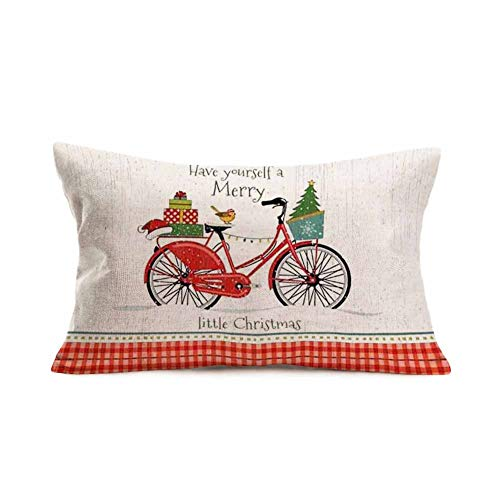 Easternproject Merry Christmas Red Bicycle Pillow Covers 12x20 Inch Bike with Xmas Trees Gifts Santa Hat Birds Farmhouse Decorations Throw Waist Pillow Cases Cotton Linen Snow Buffalo Pillow Cover