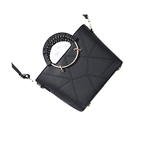 ADEMI Femmes Mode Mini-géométrie Messenger Top-poignée Sac à Bandoulière Sac à Bandoulière De Multicolor,Black-OneSize