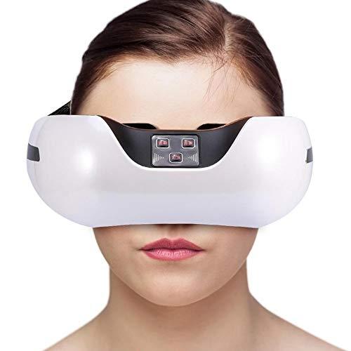 Ysswjzz Massaggiatore elettrico for occhi, Maschera for massaggio senza occhi con compressione Bluetooth for borse oculari, cerchi scuri, affaticamento degli occhi. (Color : White)