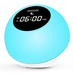 Alarm Clock for Bedrooms,Sunrise Wake Up Light for Home|Bluetooth Speakers Alarm Clock for Heavy Sleepers 7 Colored|White Noise Machine 6 Nature Sounds for Baby,Travel
