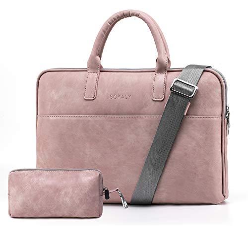 BOTRE 13-15.6 Pulgadas Bolso de Mujer Bandolera Ordenadores Multifuncional Maletín Hombre Funda para Portátil Macbook Air iPad Moda y Negocios (15.6 Pulgadas, Rosa)
