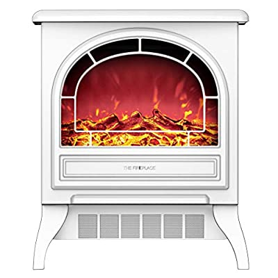 YYBF Electric Fireplace Heater, Freestanding Electric Fire Place Indoor Heater, Log Wood Burning Effect Flame, with Remote Control, 2 Heat Settings, 2 Colors