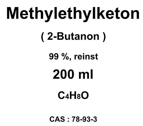 Metiletilchetone, MEK, (2-butanone), flacone da 200 ml, 99%, solvente per resine viniliche