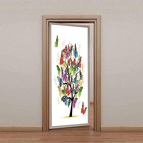 SONYUN Papel Pintado Puerta 77x200cm Mariposa Animal de Moda Colorida Murales para Puertas 3D para Papel Pintado Autoadhesivo, Impermeable Papel Pintado Puerta Mural Puertas Pegatinas 3D