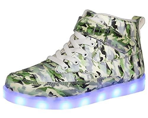 Voovix Kinder High-Top LED Licht Blinkt Sneaker mit Fernbedienung-USB Aufladen LED Schuhe für Jungen und Mädchen(C/grün,40)