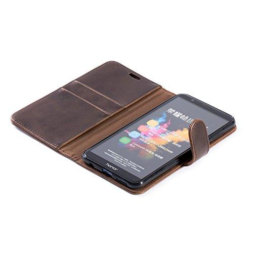 Mulbess Handyhülle für Honor 7X Hülle, Leder Flip Case Schutzhülle für Huawei Honor 7X Tasche, Vintage Braun - 4