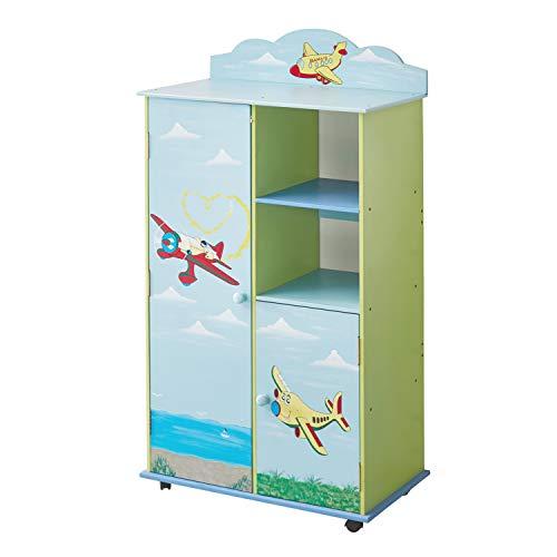 WODENY Kids Wardrobes Schlafzimmermöbel Jungen | Childs Wood Kleiderschrank | Kinderschrank | Kinderkleidungs-Organisator-Kästen mit Pastellwasser-Farben-Flugzeug-Seemöwen-Ozean