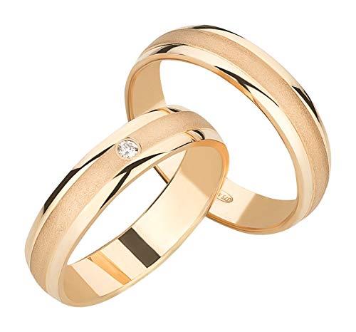 Ardeo Aurum Trauringe Damenring und Herrenring aus 375 Gold Gelbgold mit 0,02 ct Diamant Brillant hochglanzpoliert-matt Eheringe Paarpreis