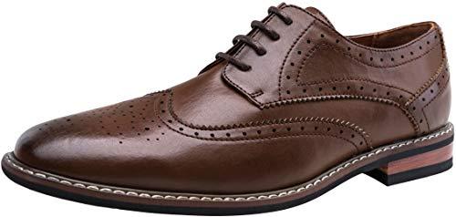 JOUSEN Men's Oxford Wingtip Brogue Formal Dress Shoes Classic Derby Oxfords (9,Dark Brown)