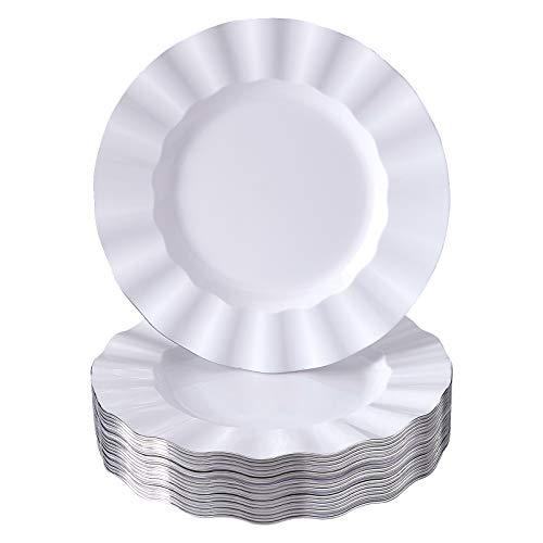 Pratos de plástico branco | 20 pratos de aperitivo | 22 cm