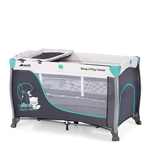 Hauck Kombi Reisebett Set Sleep N Play Center 3 / für Babys und Kinder ab Geburt bis 15 kg / 120 x 60 cm / 2 Höhen / inkl. Wickelauflage / Trage Tasche / Schlupf / Rollen / Grau Türkis