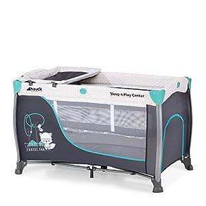 Hauck Sleep N Play Center 3 - Cuna de viaje 7piezas, de 0 meses a 15 kg, plegable, antivuelco, doble altura para recien nacido, cambiador, ventana, bolso de red, ruedas, bolsa de transporte, turquesa