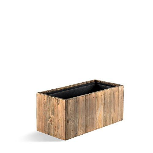 """Pflanzkasten """"Woodline Balcony Box"""" Dark Flame Wood Rechteckig Holz - 23x61x23.5cm - F731"""