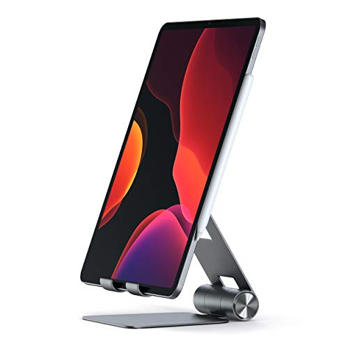 SATECHI R1 Support Pliable Tablette Multi-angles en Aluminium - Compatible avec 2020 iPad/2020 iPad Pro, iPhone 12, 11 Pro Max/11 Pro, Xs Max/XS/XR/X, 8 Plus/8, Samsung S10 Plus/S10