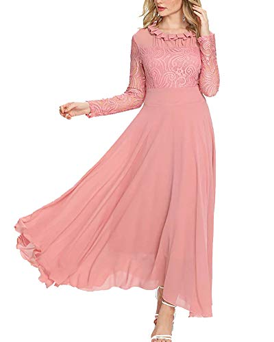 Aofur Women's Long Sleeve Chiffon Maxi Dresses Casual Floral Lace Evening Cocktail Party Long Dress (Small, Light Pink)