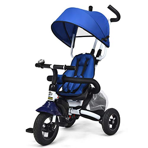 GLACER Baby Tricycle, 6-in-1 Foldable Steer Stroller, Learning Bike w/Detachable Guardrail, Adjustable Canopy, Safety Harness, Folding Pedal, Brake, Shock Absorption Design for Toddler Boys and Girls